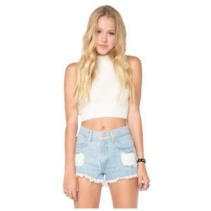 Brandy Melville Distressed High Waisted Shorts